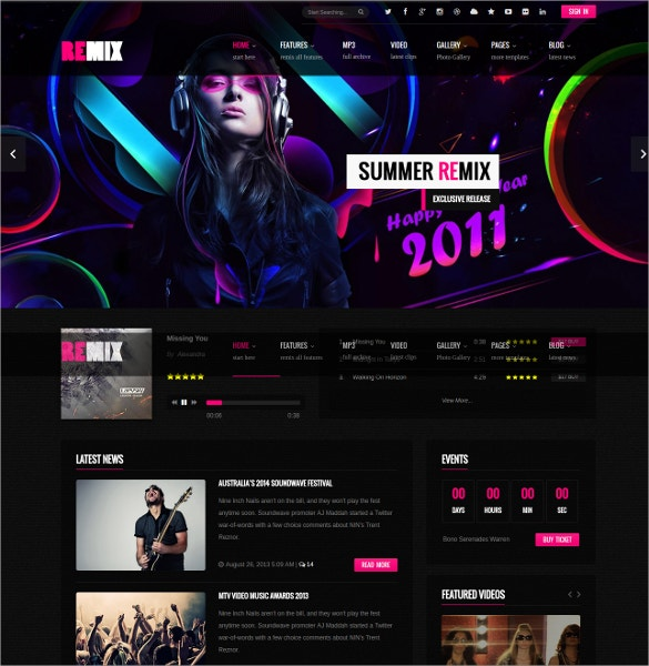 Music & Band HTML5 PHP Template