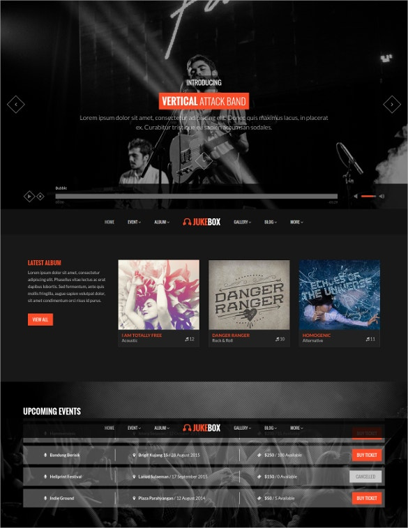 responsive music band php template