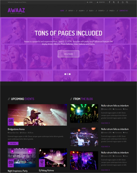 Responsive Music HTML5 PHP Template