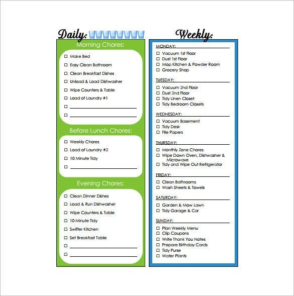 household weekly chore chart free pdf download1