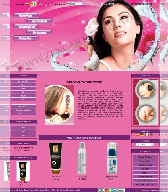 Hair Salon ZenCart Template