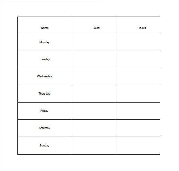 weekly chore chart for adults free word template1