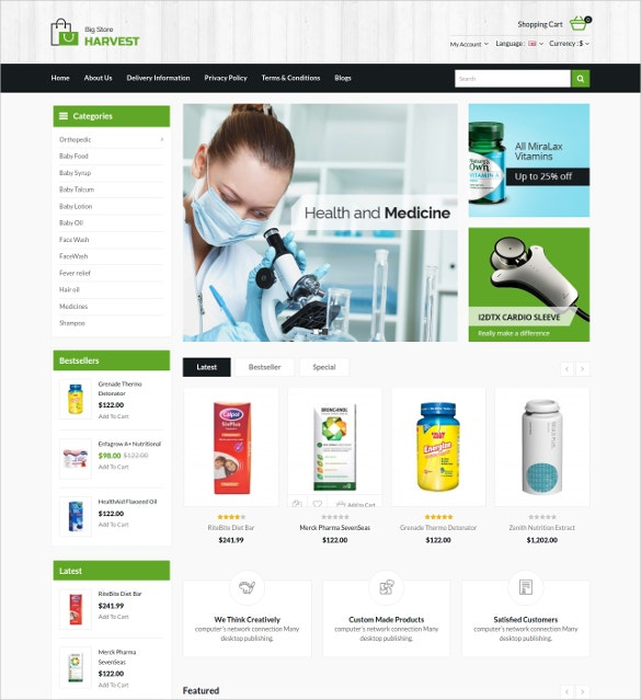 Responsive Medical Euipment OpenCart Template
