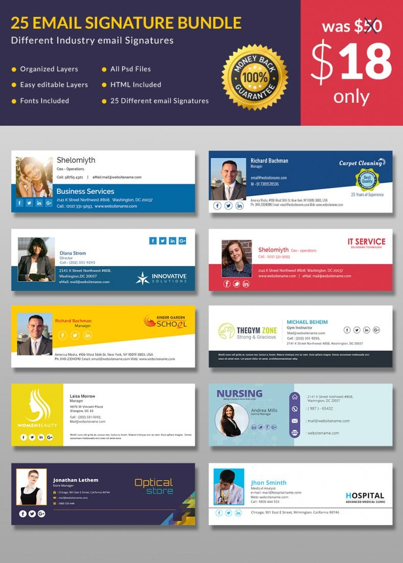 64 email signature designs download edit easily free for Free email signature template