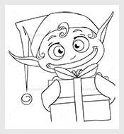 Christmas-Elf-Holding-a-Present-Coloring-Page-Vector