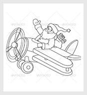Santa-on-a-Plane-Coloring-Page-Vector