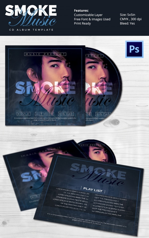 PSD Smoke Music Cd Album Template