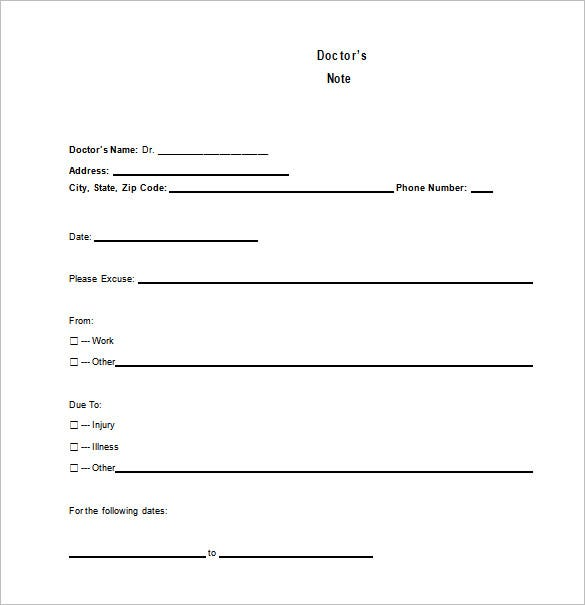 Doctors Note Template – 8+ Free Word, Excel, Pdf Format Download