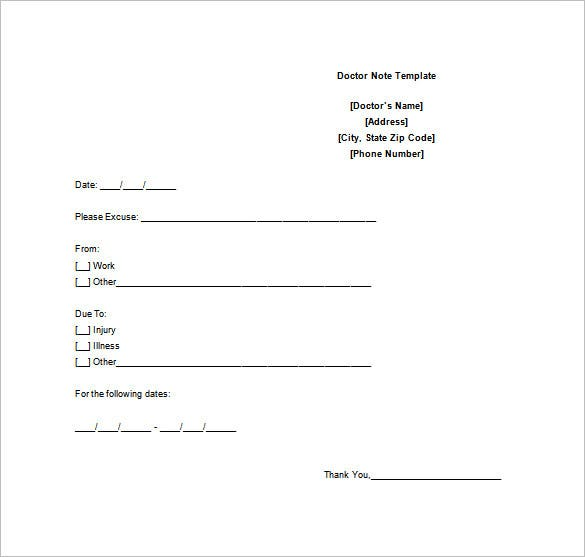 doctors note template in ms word free download