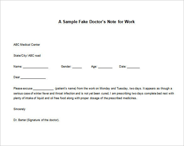 Doctor Note Templates for work 8 Free Word Excel PDF Download – Doctor Note