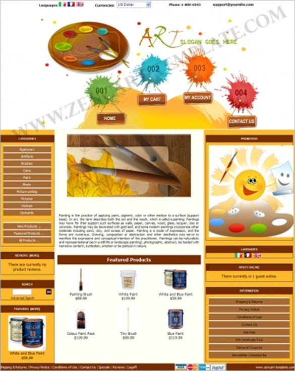 painting art store zencart template