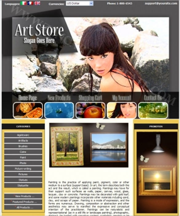 painter art store zencart theme