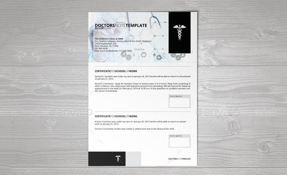 indesign doctors note template download