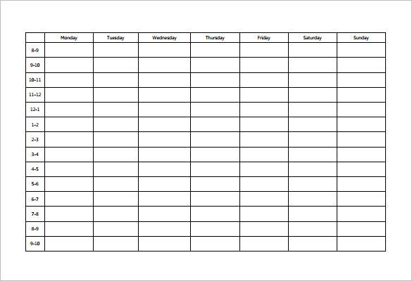 study schedule templates 19 free word excel pdf format download