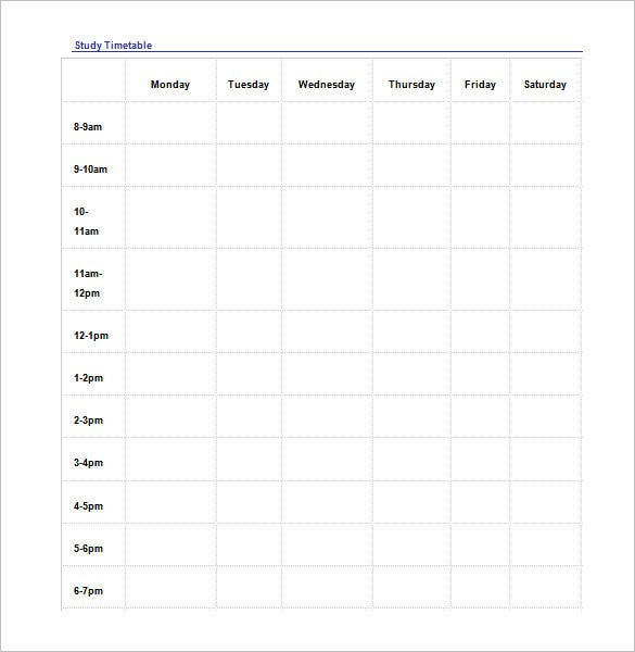 study schedule template download in word doc