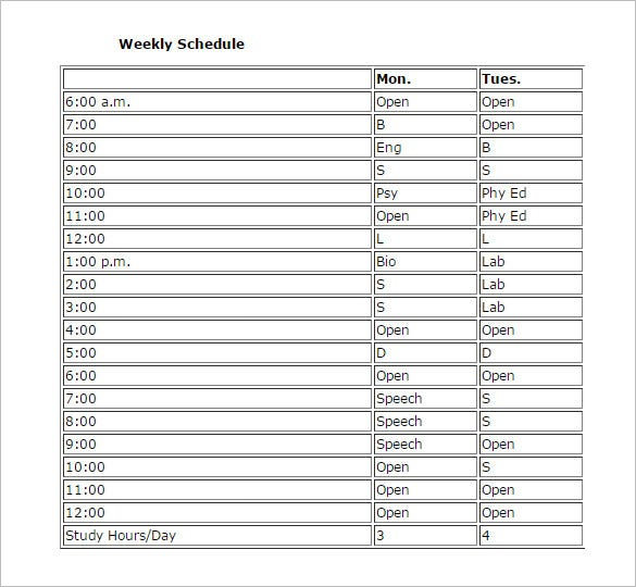 weekly study schedule template printable