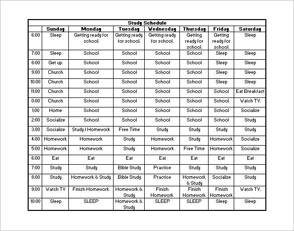 Study Schedule Template 7 Free Word Excel PDF Format Download – Daily Routine Chart Template