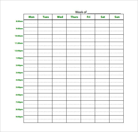 download blank weekly study schedule planner pdf download