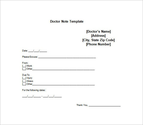 Doctor Note Templates For Work   Free Word Excel Pdf Download