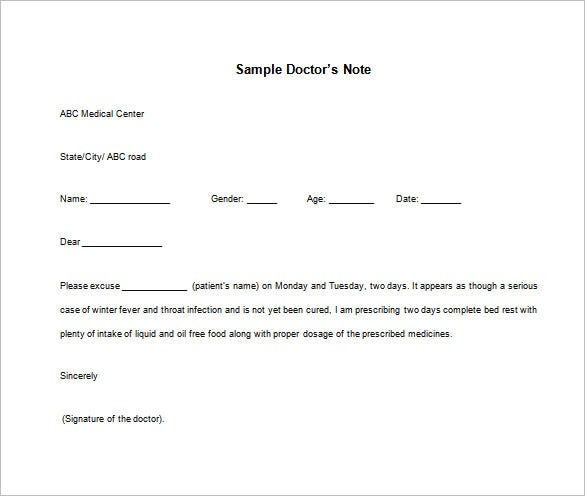 Doctors Note Template – 6+ Free Word, Excel, Pdf Format Download