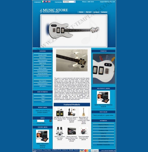guitar music store zencart template