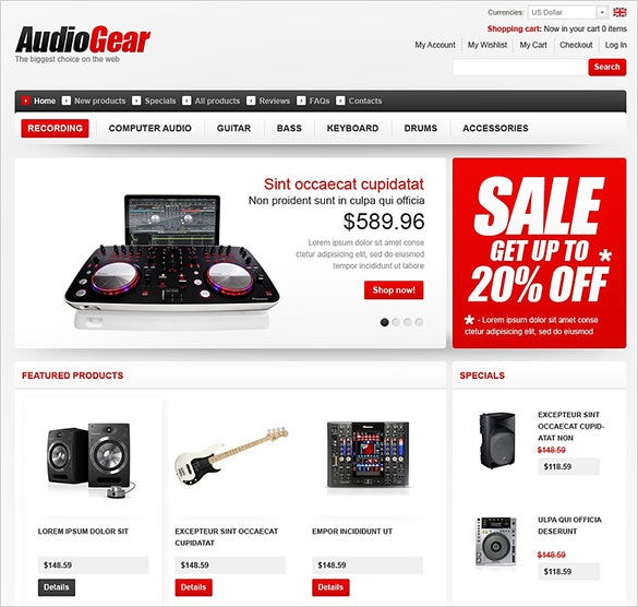 audio store zencart theme