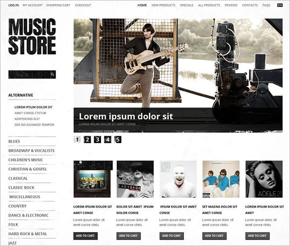 lavish music store zencart theme