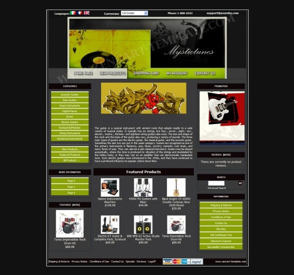 music station store zencart template