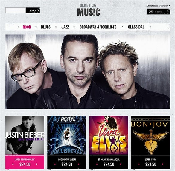 premium online music store zencart theme