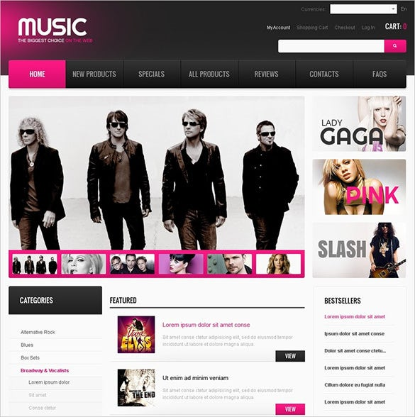beautiful music store zencart template