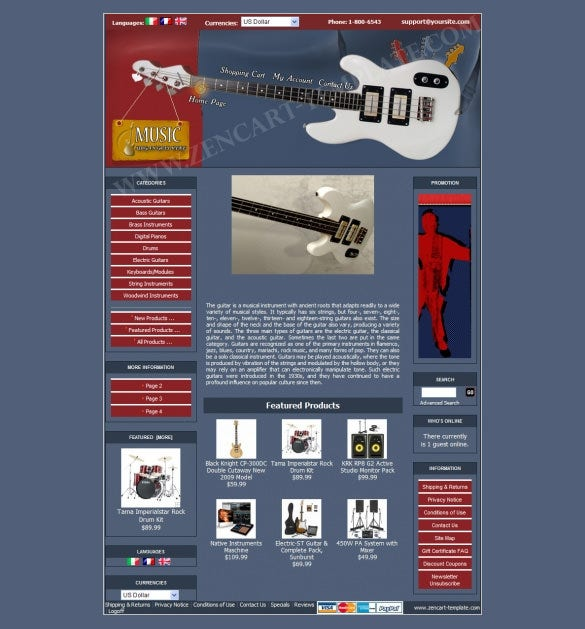 musical instrument store zencart theme