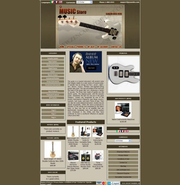 music store online zencart theme