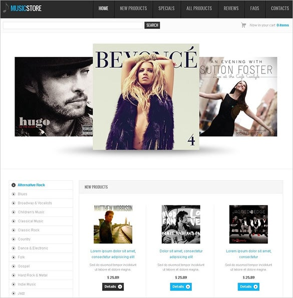 simple music store zencart theme