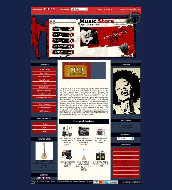 pretty music store zencart theme