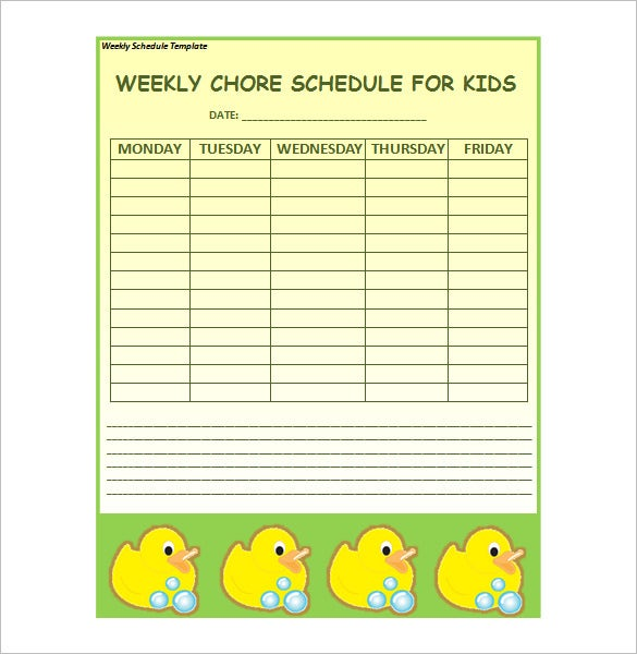 Weekly schedule template 12 free sample example format download sample weekly chore schedule template for kids download pronofoot35fo Image collections