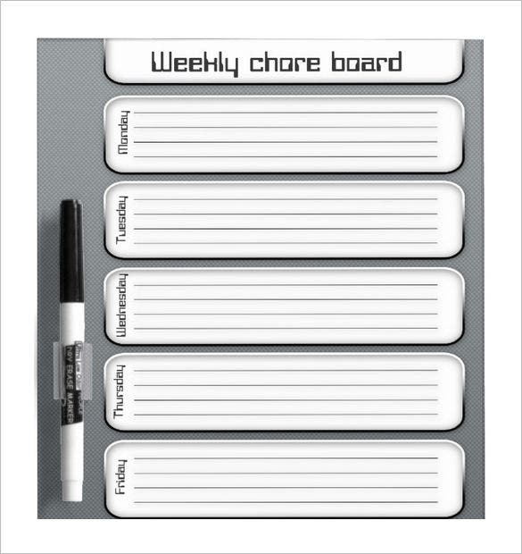 printable weekly chore board template sample download