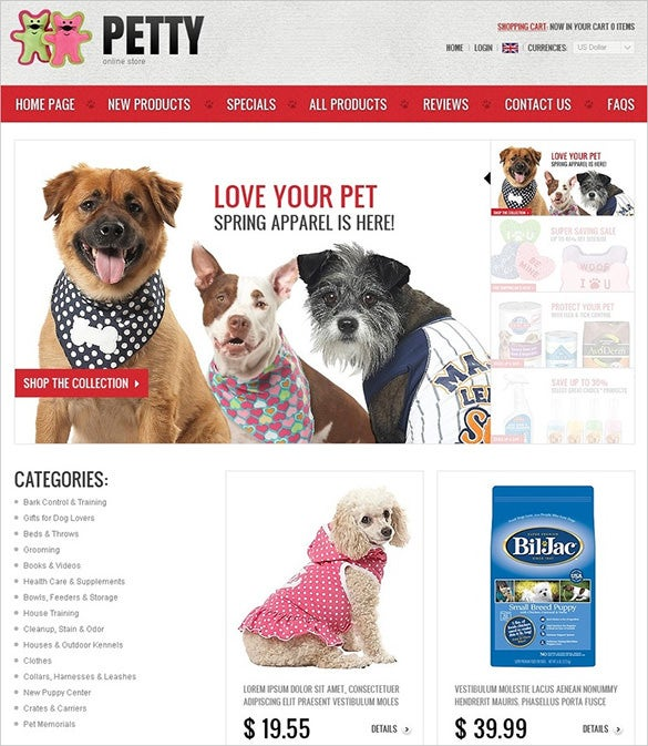 online pets shop zencart template