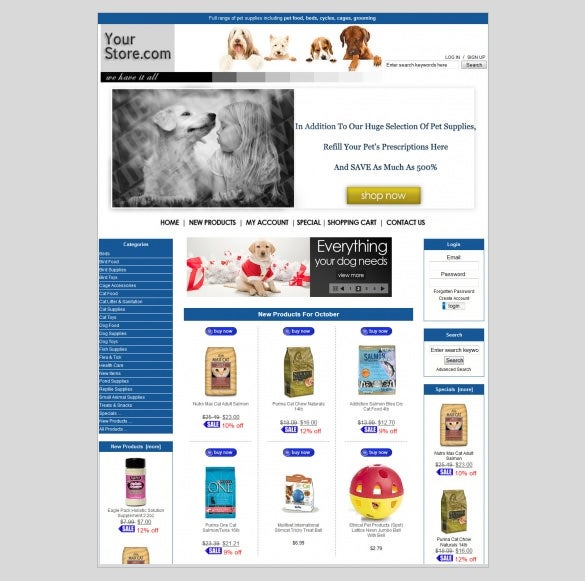 pets supplies zencart theme