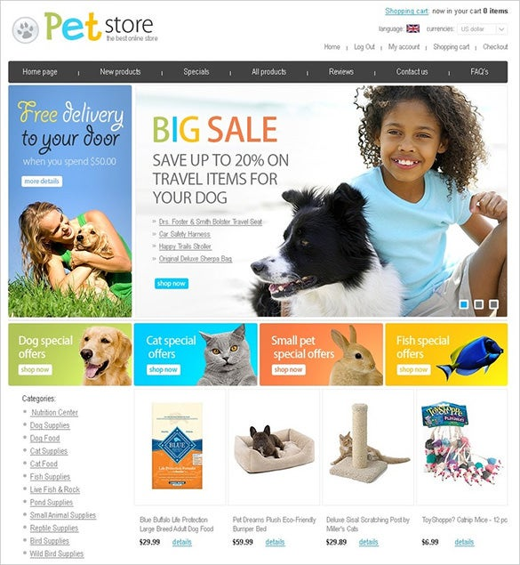 beautiful pets store zencart template