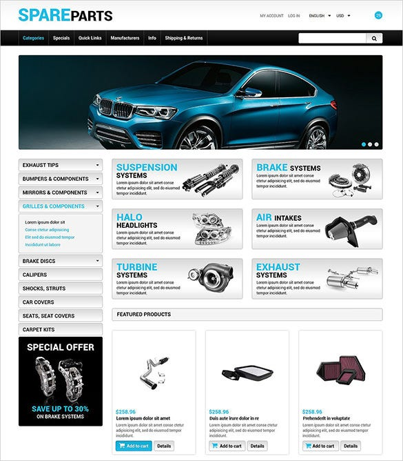 premium auto parts zencart theme