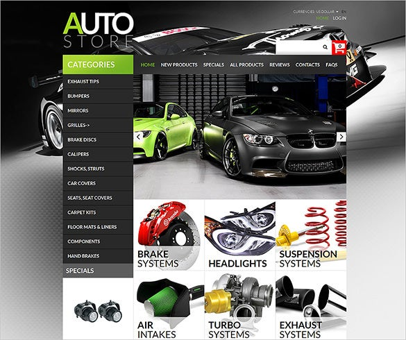 luxurious auto parts zencart template