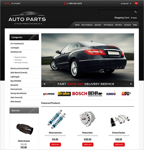 stunning auto parts zencart theme