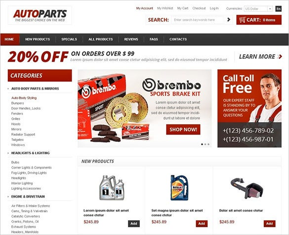 best spare parts zencart theme