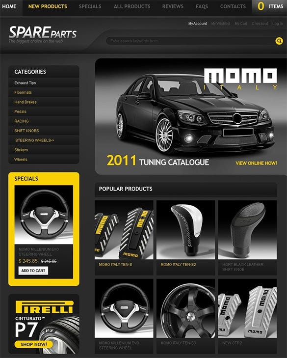 black background auto parts zencart theme