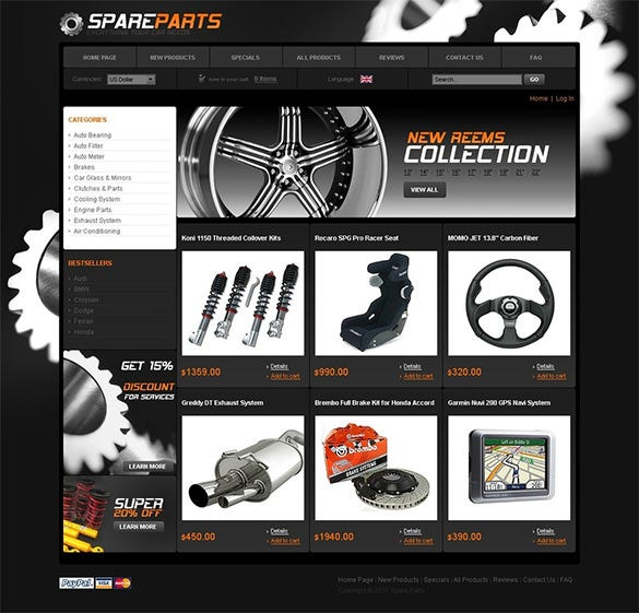 simple auto parts zencart template