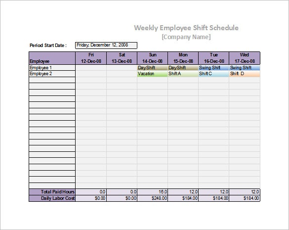 How to make a staff schedule in excel employee schedule for Pricing schedule template