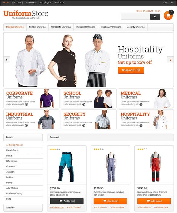 security uniform opencart template