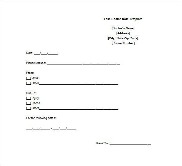 Doctor Note Template   Free Sample Example Format Download