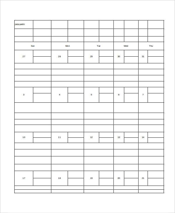 monthly desk calendar template