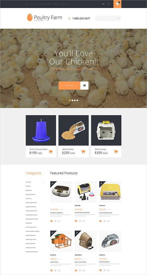 poultry farm agriculture opencart theme